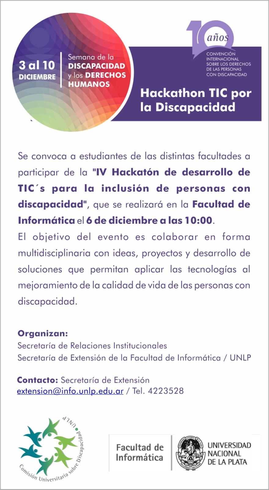 Poster: IV Hackatón de desarrollo para la inclusión de personas con discapacidad